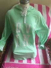 Victorias Secret Love Pink Pullover Graphic Varsity Hoodie NWT XS Raw Cut Mint