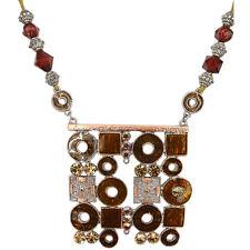 Square Pendant Necklace Charm Austrian Crystal Brown Jewelry Retro Copper Tone