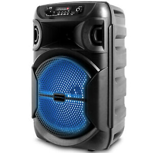 8'' Portable 1000 Watts Bluetooth Festival PA LED Speaker with USB and Mic Input