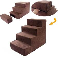 Brown Folding Pet Stairs Adjustable 4 Steps for Small Dog Cat go to Bed Ladder
