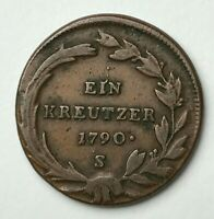 Dated : 1790 - Copper Coin - Austria - 1 Kreuzer - Ein Kreutzer - Joseph II