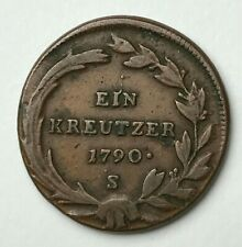 Dated : 1790 - Copper Coin - Austria - 1 Kreuzer - Ein Kreutzer - Joseph II