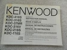 Kenwood CD Radio Instruction Owners Manual KDC-416S 316S 37MR 316V 216S 116S