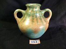 Vintage Pottery sponged Decorated glazed two handle vase / Urn Orange Green 15cm