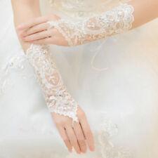 Bride Wedding Dress Fingerless Gloves Lace Short Gloves Beads Rhinestone