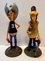 Lot Of 2 2001 Foxworthy's Folks Dewayne & Harvell Ceramic Resin Figurines
