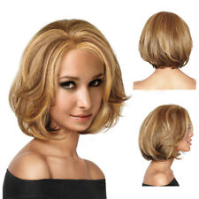Golden Brown Short Wavy Natural Full Wig Women Dark Top Real Human Hair Wigs