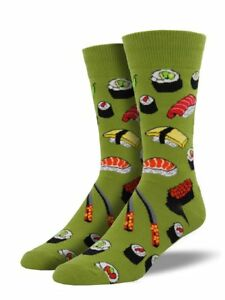 "Socksmith Men's Socks Novelty Crew Cut Socks ""Sushi"" / Choose Your Color!!"