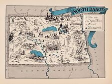 1930s Antique Animated NORTH DAKOTA State Map Fargo Bismark Map BLU 2419