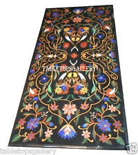 4'x2' Black Marble Dining Table Top Multi Gems Marquetry Inlay Mosaic Art H2440