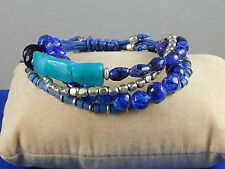 Kenneth Cole Silvertone Mixed Blue Beaded Multi Strand Stretch Pully Bracelet