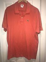 Lacoste Orange Short-Sleeve Casual Polo Shirt Men's Size 7 2XL XXL France C41