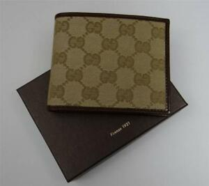 New in Box Gucci Beige GG Canvas Bi-fold Wallet Unisex