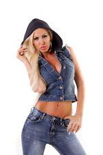 4523 Sexy Damen Jeansweste Kapuzen Jeans Weste Streetlook Jeans Jacke