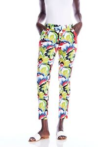 I Love Tyler Madison White/Multi Leaf Print Slip-On Cropped Pants 196039TM NEW