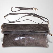 Clutch Abendtasche Schultertasche Leder Umhänge Tasche Handtasche Grau