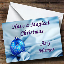 Blue Bauble & Silk Xmas Personalised Christmas Greetings Card