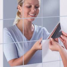16Pcs Square Mirrors Mosaic Tiles Self Adhesive Wall Sticker Shower Room Decor