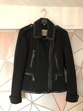 Genuine Burberry Brit Black Zip Front Biker Jacket Coat Size Small 8-10