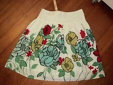 esprit border print 1950s floral skirt  cotton