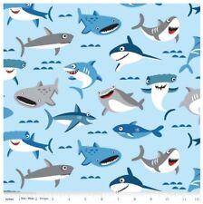 Nautical Kids Fabric - Sharktown Sharks Allover Light Blue - Riley Blake YARD
