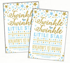 twinkle little star invitation baby blue gold first birthday boys party invite