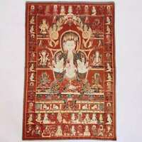 "36"" Tibet Tibetan Cloth Silk 3 Face 6arm Guanyin Kwan-yin Tangka Thangka Mural"