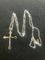 925 Sterling Silver Cross 24 inches chain Necklace Pendant Men Women