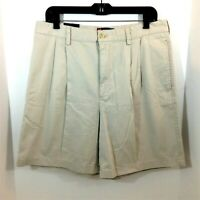 Chaps Chino Shorts Mens Sz 34 Beige 100% Cotton Pleated Front Casual Khaki  NWT