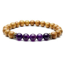 "Natural 8mm Sandalwood Beads Chakra Stones Braided Elastic Energy Bracelet Gift 04# Amethyst (7"" Stretchy)"