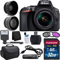 Nikon D5600 Digital SLR Camera 3 Lens Kit 18-55 VR Lens + Top Value Accessories