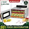 KWASYO 6 Tray Food Dehydrator Machine w/ Digital Control, Stainless Steel, GIFT