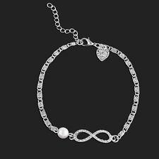Fashion Infinity Gold Silver Crystal Charm Bracelet Women Elegant Jewelry Gift
