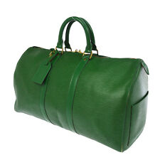 AUTH LOUIS VUITTON KEEPALL 45 TRAVEL HAND BAG GREEN EPI LEATHER M42974 NR10041