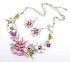 Women  Sweet Rhinestone Flower Chain Necklace Earring Set Jewelry Accessories