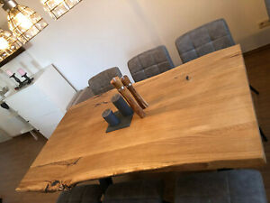 Tischplatte Küchentisch Esszimmertisch Eiche massiv, geölt, Baumkante