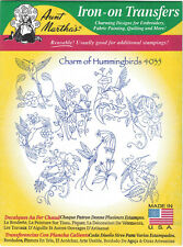 Charm of Hummingbirds Aunt Martha's Hot Iron Embroidery Transfer #4034