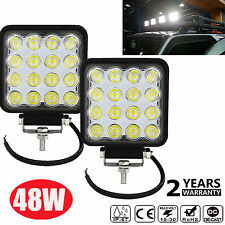 2X 48W Square LED Work Light Flood Lamp For Offroad Truck Tractor Boat Bar 12V L