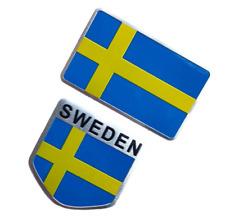 2pcs Swedish Sweden Flag Car Motor Fender Trunk Emblems Badges Stickers Decals