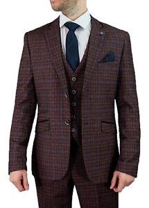 Men's Cavani Burgundy Check Tweed Peaky Blinders Wedding Formal 3 Piece Suit