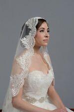 1 Tier Elbow Length Mantilla bride wedding veil lace Edge Bridal accessories M3