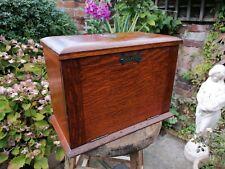 More details for antique 19thc victorian oak stationary box cabinet lift down slope restoration