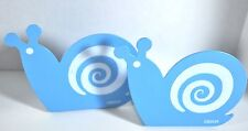 ONE PAIR OF BLUE SNAIL CARTOON PERSONALITY METAL BOOKENDS 105MM X 85MM