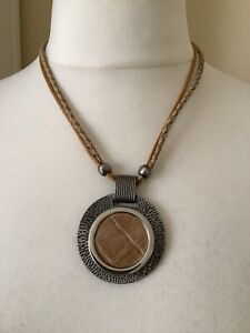 Womans Leather & Metal Necklace. Brown Leather. Round Silver Pendant.