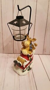 Christmas votive holder moose on sled resin candle holder figurine holiday (HR)