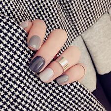 Hot Sale NEW High Quality Grey Gel Color Art Short False Fake Nails Tip Stickers