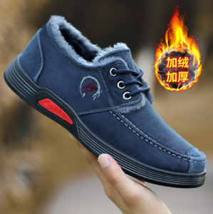 Mens Winter Warm Slip On Casual Canvas Shoes Boat Wide Fit Loafers Driving Shoes