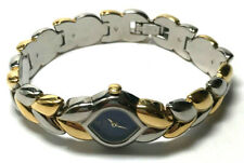 PULSAR Ladies Watch Small Navy Blue Face No Numbers Silver Tone Gold Tone Band