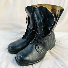 Vintage 70s Genesco Black Lace Up Military Combat Boots 9R