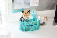 Blu Monaco Aqua Desk Organizer with Drawer - for Home or Office